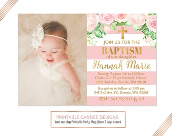 Burlap floral baptism invitation baby girl baptism pink gold floral baptism invitation baby girl baptism invitation christening invitation striped baptism stopboris Image collections