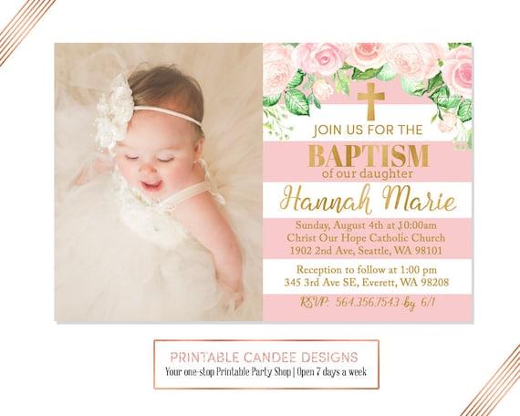 Pink Gold Floral Baptism Invitation Baby Girl Baptism