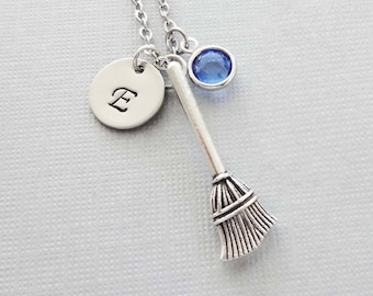 Broom Necklace, Broomstick, Broom Stick, Witches Broom, Halloween, Swarovski Birthstone, Personalized, Monogram, Hand Stamped Letter Initial