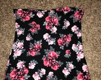 Strapless floral fun and cute top