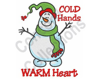 Snowman - Machine Embroidery Design, Cold Hands Warm Heart