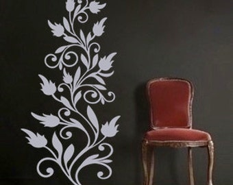 Flower and Leaf Vine, vinyl Wall DECAL Art, sticker art, room, home and business decor