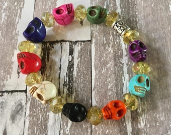 Skull Bracelet Multi Colored Stretchy Howlite Beaded, Crystals, Sugar Skull, Day of the Dead