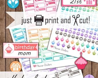 Printable Birthday Planner Stickers, Happy Birthday Reminder Stickers