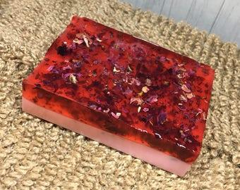 Rose Soap Bar-Shea Butter Soap-Rose Petal Soap-Floral Soap-Handmade Soap-Natural Soap-Natural Rose Soap-Mild Soaps-Pink Soap-Designer Soap