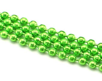 330 Feet - Neon Green 2.4mm Ball Chain - For Necklaces, Jewelry, Dog Tags, Home - 100 Meters 110 Yards - Bulk Strand Metal Ball Bead Chain