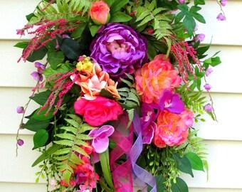 Door Swag, Spring Wreaths For Front Door, Summer Door Wreath, Spring Door Wreath, Spring Door Swag, door swags Summer, door swag peony