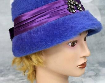 Vintage Womens 1960s Union Made Blue Fur Cloche Hat Purple Ribbon Rhinestones