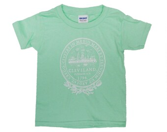 Toddler Tee - Cleveland City Seal on Mint Green