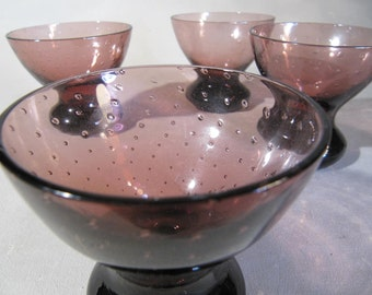Vintage art glass, controlled bubble, cordial set, amethyst, possibly Blenko