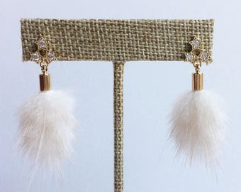 Fur Tassel & 3-Star Post Earrings (JE09)