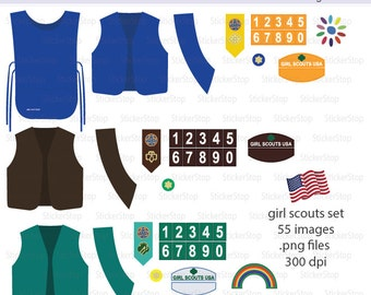 Girl Scouts Uniform and Patches - Daisy - Brownie Digital Clipart Set - Instant download PNG files