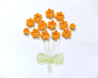 Yarn flowers, Crochet flowers, Flower applique, Gift embellishments, set of 5, yellow flowers