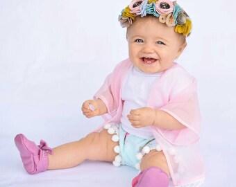 Light pink sheer child kimono, pink kimono, baby kimono, child kimono, toddler kimono,