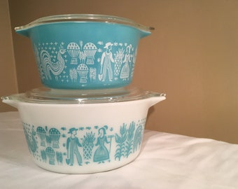 Pyrex Amish Butterprint Pair of Covered Casseroles