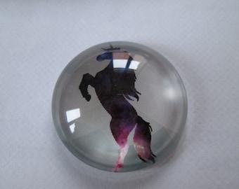 printed round cabochon 25 mm Unicorn design