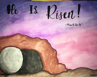 Scripture watercolor painting. Mark 16:6, He is Risen