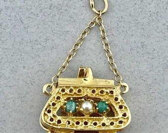 Vintage Solid 14k Yellow Gold with Pearl and Turquoise Accent Purse Pendant Charm!