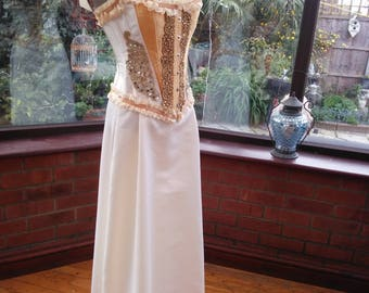Gold trimmed steel boned corset top with Ivory satin skirt wedding bridesmaid dress only one fitted bodice lace up back size  UK 10 USA. 6