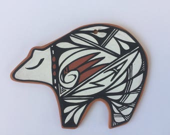 Handpainted Native American, Navajo clay bear ornament