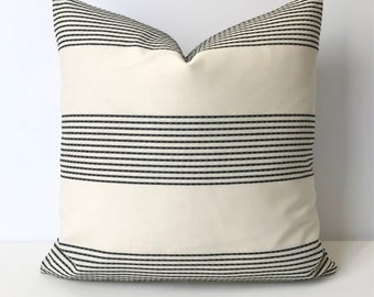 Black and ivory modern stripe indoor outdoor decorative pillow cover