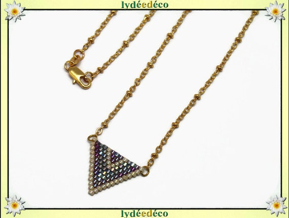 Necklace plated 18 k gold blue grey iridescent purple lilac beige woven triangle chevron ball chain