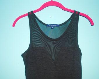 mesh black fit n flare dress. size: s/m.