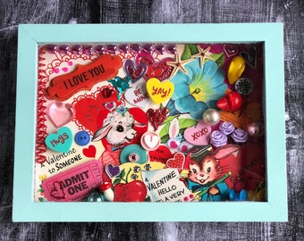 Ooak Handmade Framed Valentine Collage Vintage Valentine Cards Mixed Media Art Valentines Day Gift