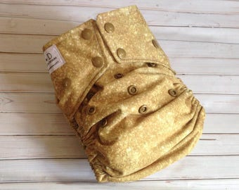 Cloth Diaper - Mansa Musa, Gold Cloth cloth diaper cover made by SHINE Cloth. Great baby shower gift