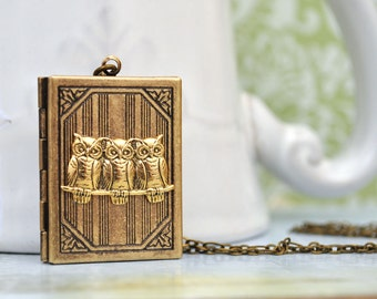 antiqued brass book style locket necklace, THREE BABY OWLS, mother and child necklace, family, book warm, book necklace,
