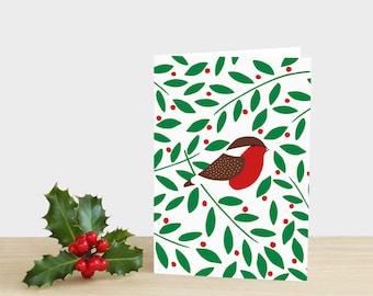 Robin Holly Christmas Card