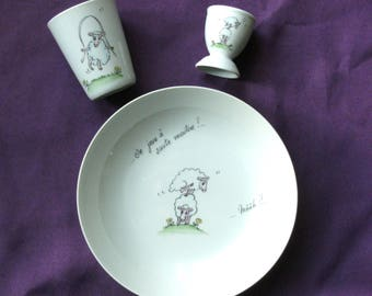 Custom set for christening or birth porcelain. Funny sheep.