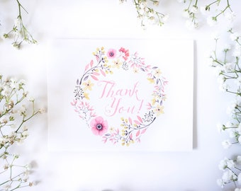 Boho Thank you cards | Pink and Gold Thank you card | Floral Thank you note card | Floral Wreath | First Birthday stationery for girls