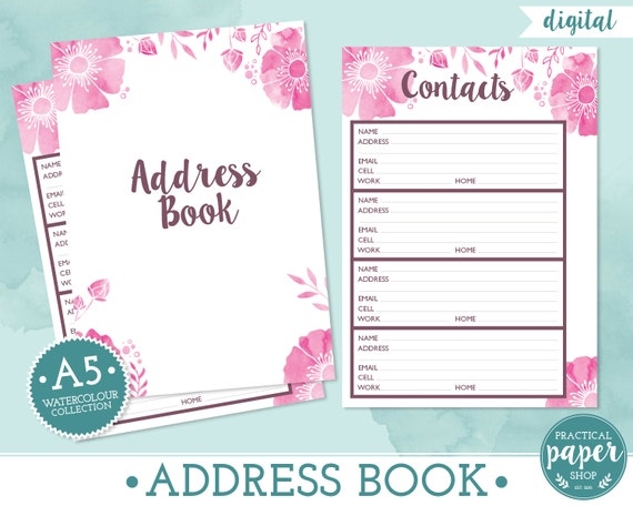 items similar to a5 planner address book inserts digital