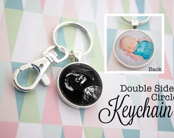 Two Sided Photo Keyring - Custom Photo KeyChain - Silver Key Ring - Personalized Key Chain - Double Photo Keychain - 25 mm / 1 in Circle
