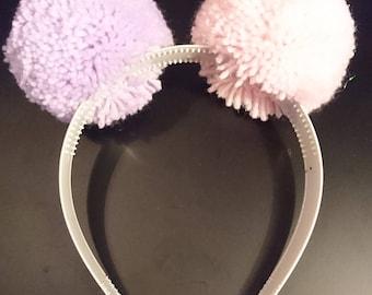 Pink/Beige Pompom Headband