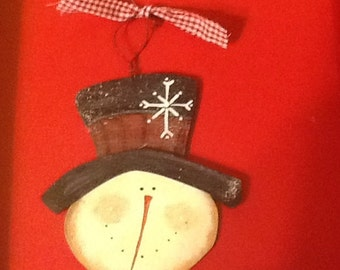 Snowman ornament, country snowman ornament, snowman gift tag, snowman stocking stuffer, grab bag gift, frosty sign, frosty ornament