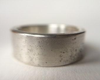 Mens Rustic Heavy Wedding Band -  Rustic Silver Hammered  Men's Wedding Band- Rustic Man Ring Hammered   Silver