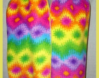 Bright Colorful Burst of Light Fleece Scarf, Brilliant Color Muffler, Neck Scarf