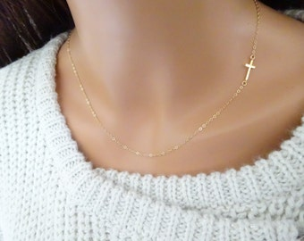 Gold Cross Necklace Gold Necklace Men Gold Chain Necklace