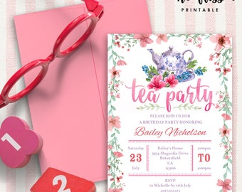 Tea Party Invitation | 5x7 | Editable PDF File | Instant Download | Personalize at home with Adobe Reader