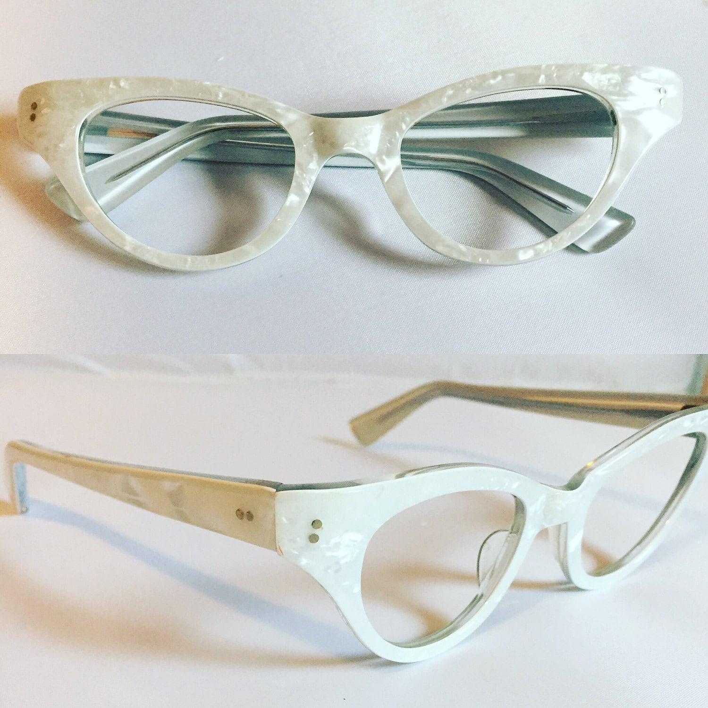 Weiße Brille 1960er Jahre perligen weißen Cateye Brille neue