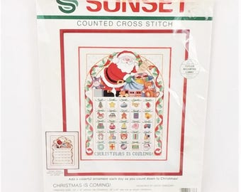 Craft Kit Counted Cross Stitch Kit  Sunset Christmas is Coming 12x16 Advent Calendar 18336 Vintage 1992