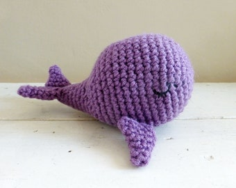 Purple whale doll, whale stuffed animal, stuffed animals, crochet animals, ready to ship