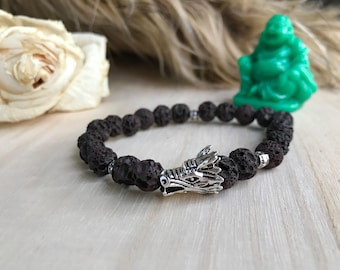 Brown & Silver Dragon and Lava Bead Bracelet (elastic, boyfriend, for him, Targaryen, mens, guy, male)
