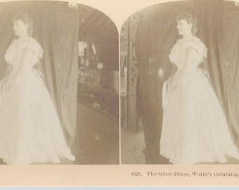 1893 Stereoview of The Glass Dress Made by Libby Glass Co Columbian Exposition