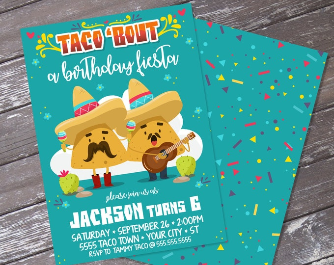 Taco 'bout... a Birthday Fiesta Invitation - Cinco De Mayo, Fiesta Birthday Party | Editable Text - Instant Download PDF Printable