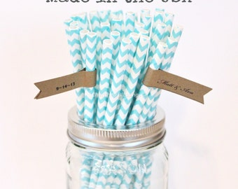 Aqua Blue Paper Straws, 100 Aqua Chevron Straws, Made in USA, Wedding, Baby Shower, Rustic, Vintage, Paper Goods, Table Setting, Flags