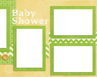 Baby Shower - Digital Scrapbook Quick Pages - INSTANT DOWNLOAD