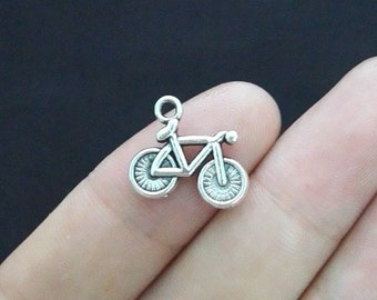 10 Bike  Bicycle Charms, Antique Silver Tone (1B-39)